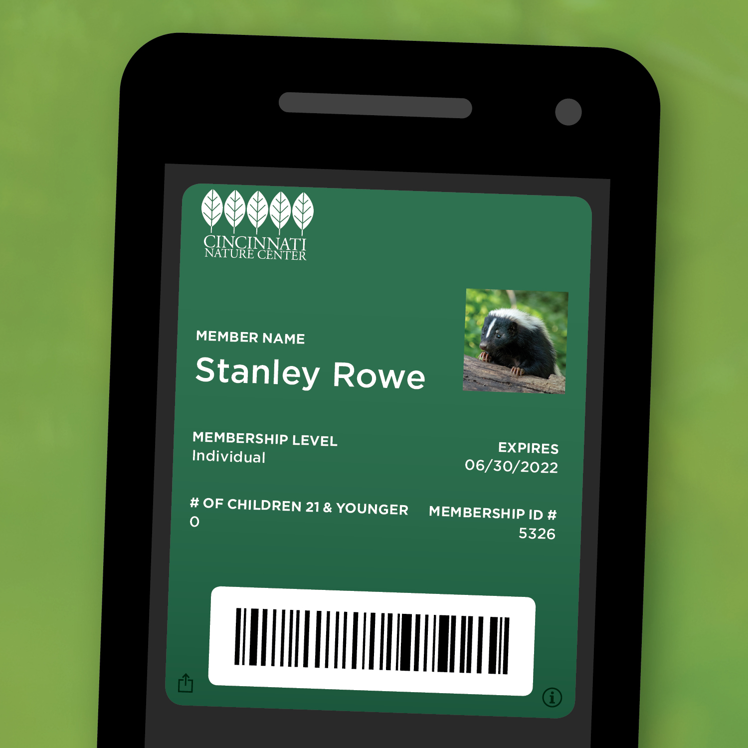 Image of a digital member card on a smart phone