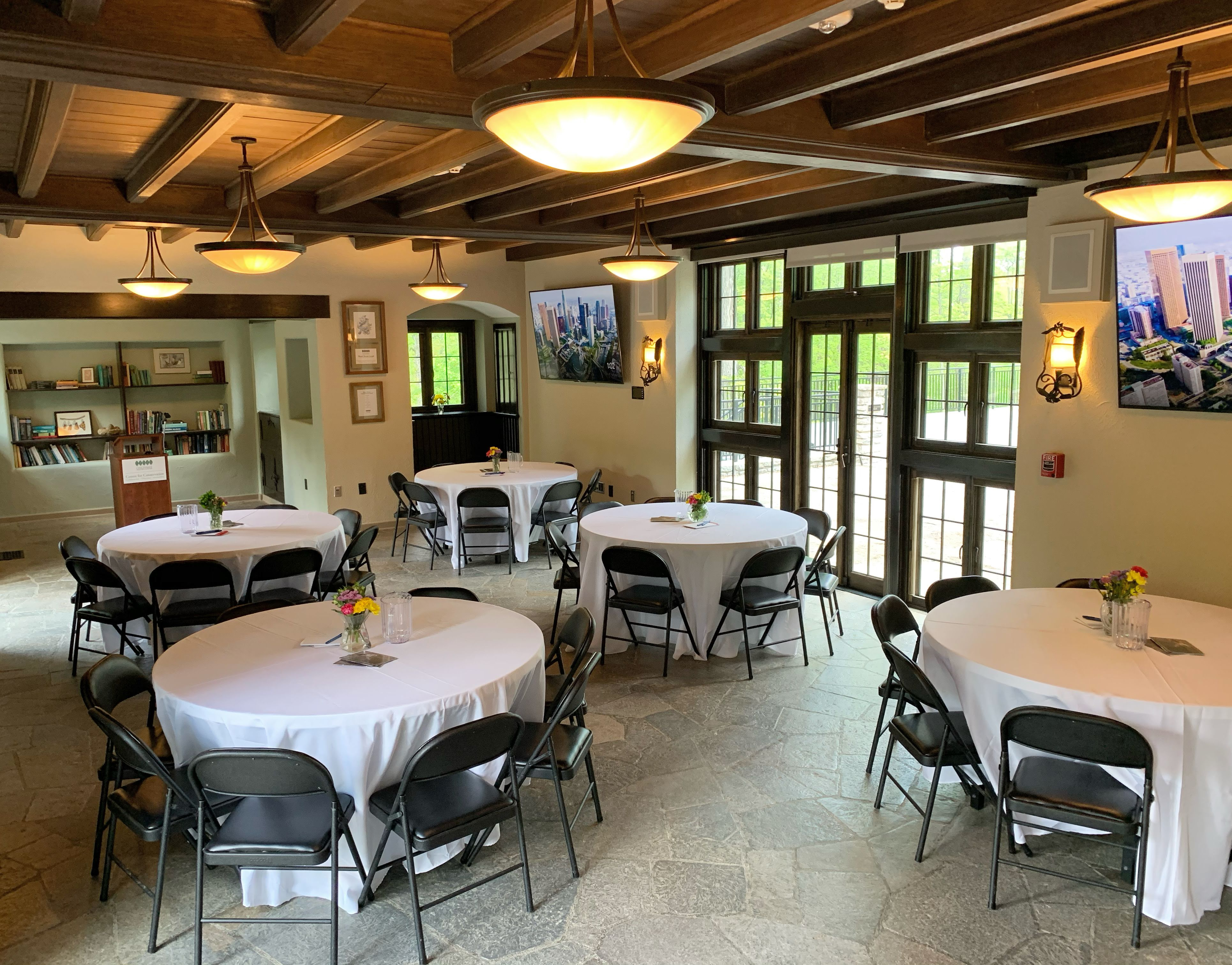 A photo of the inside of Groesbeck Estate staged for an event