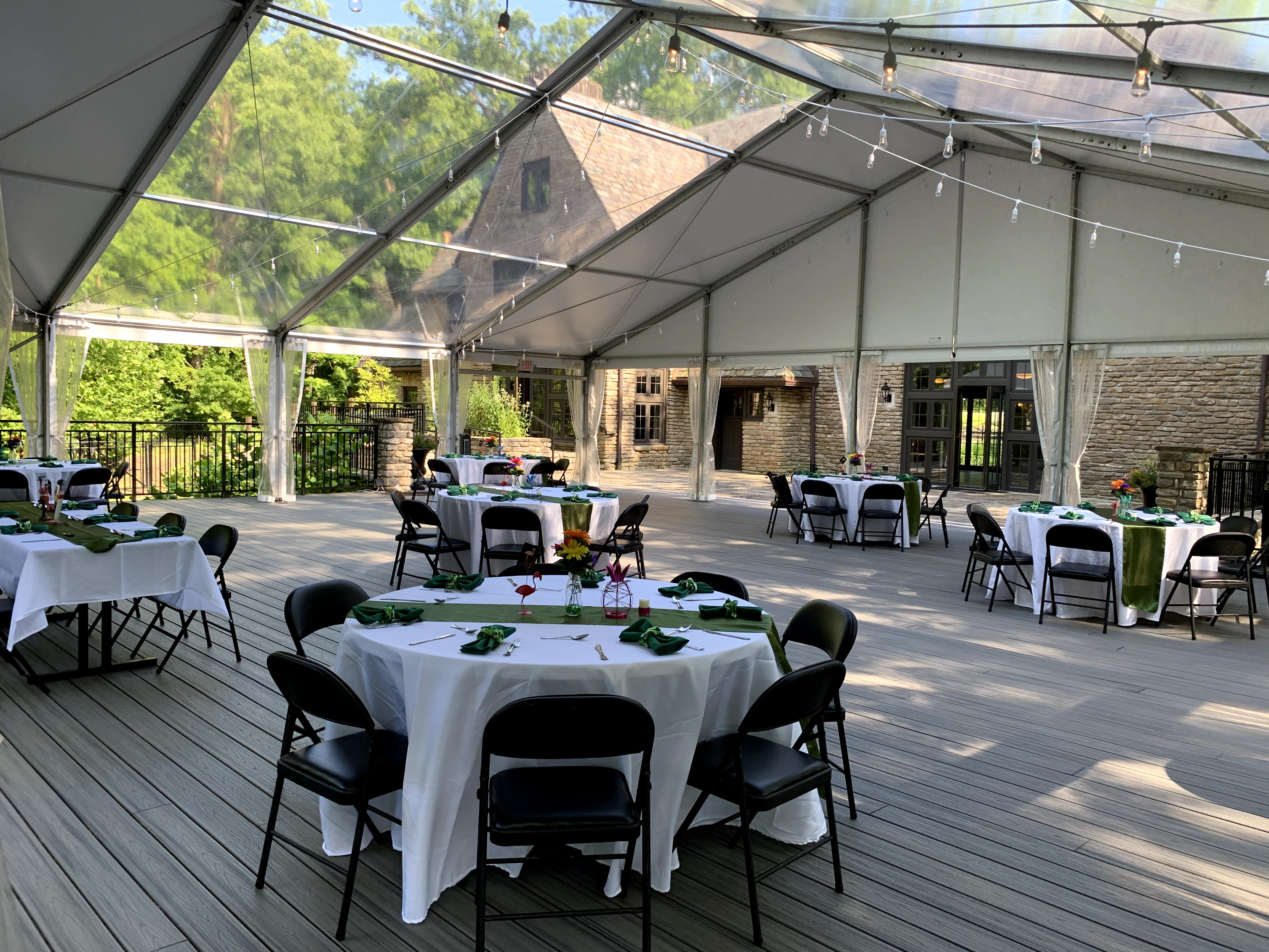 A photo of the tented Tritsch Terrace at Groesbeck Estate
