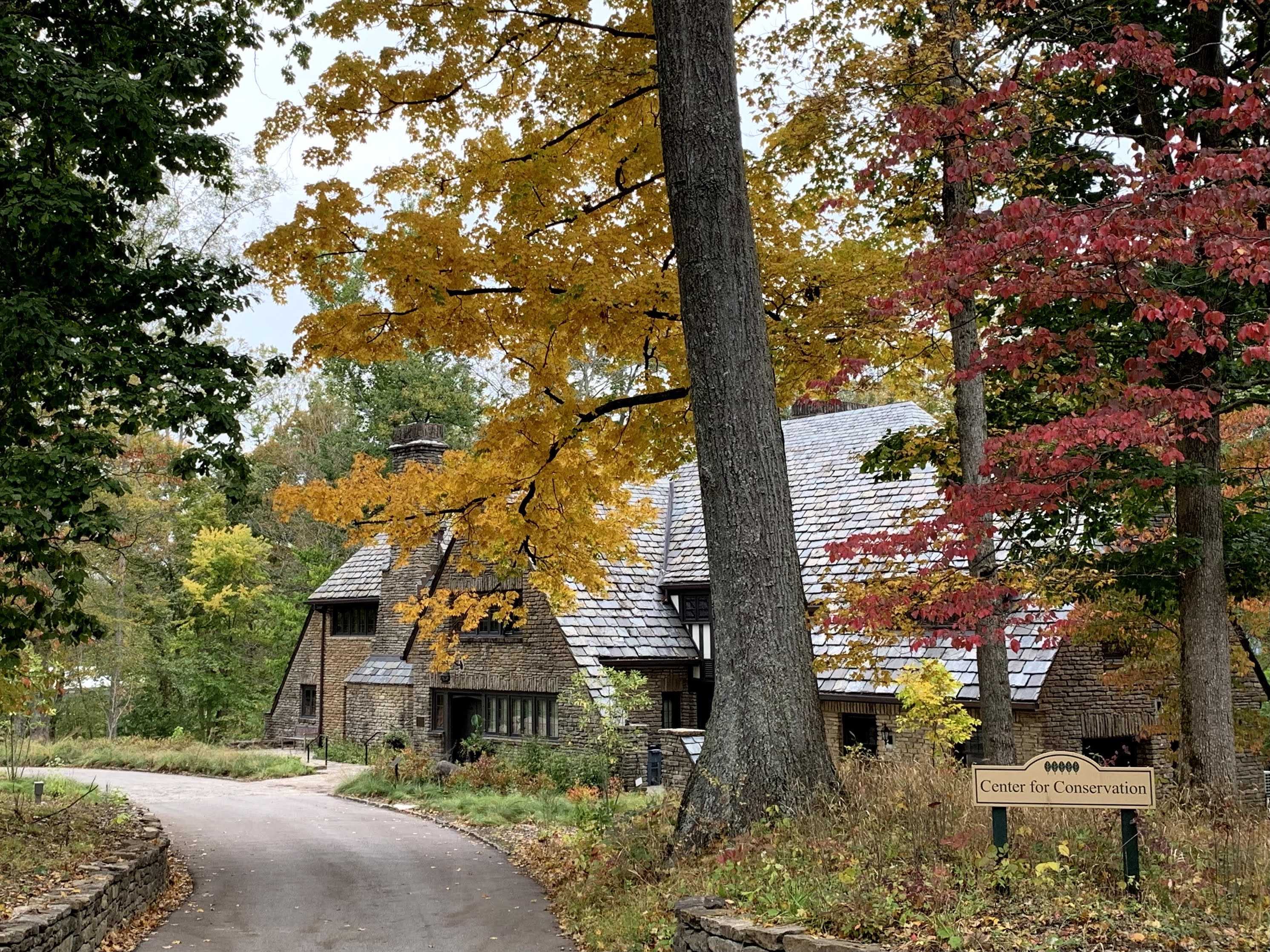 Image of Groesbeck Lodge in autumn, framed by fall foliage
