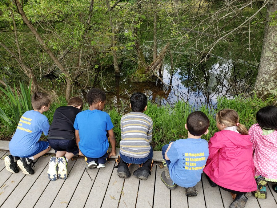 7 kids on a bridge looking into pond