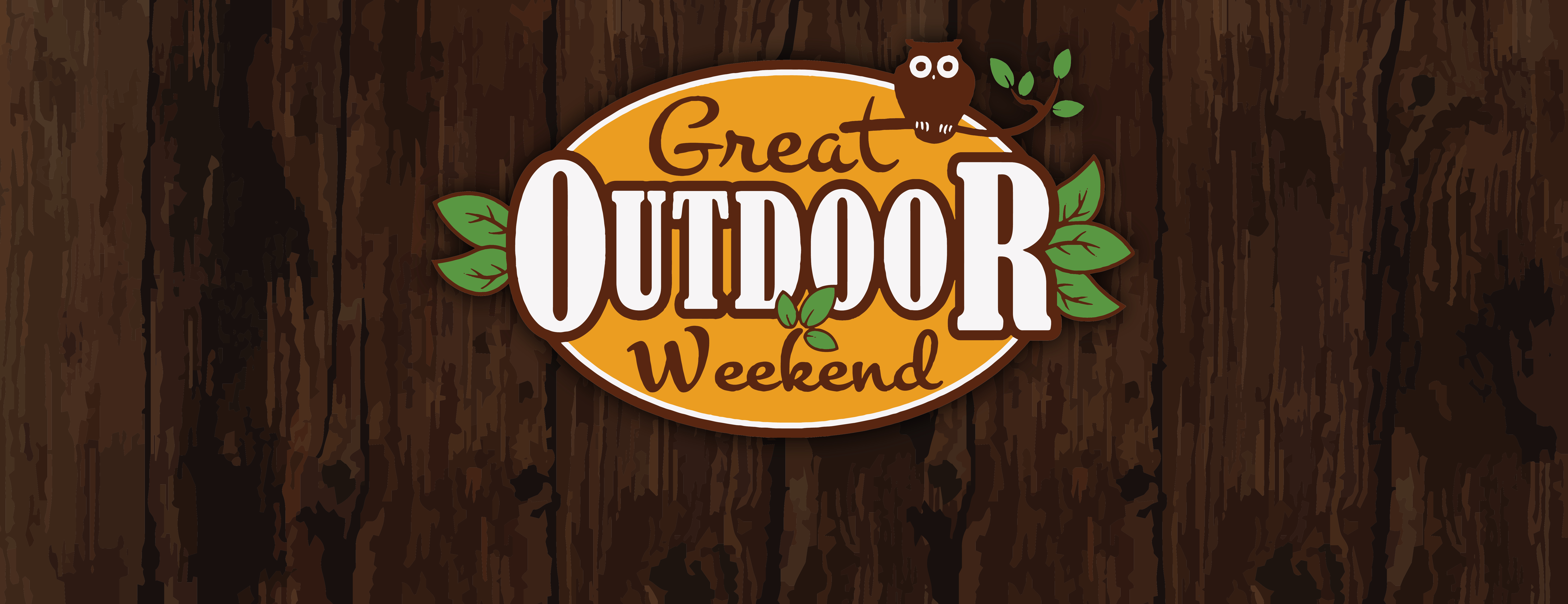 Graphic of a dark wood background with Great Outdoor Weekend logo on top