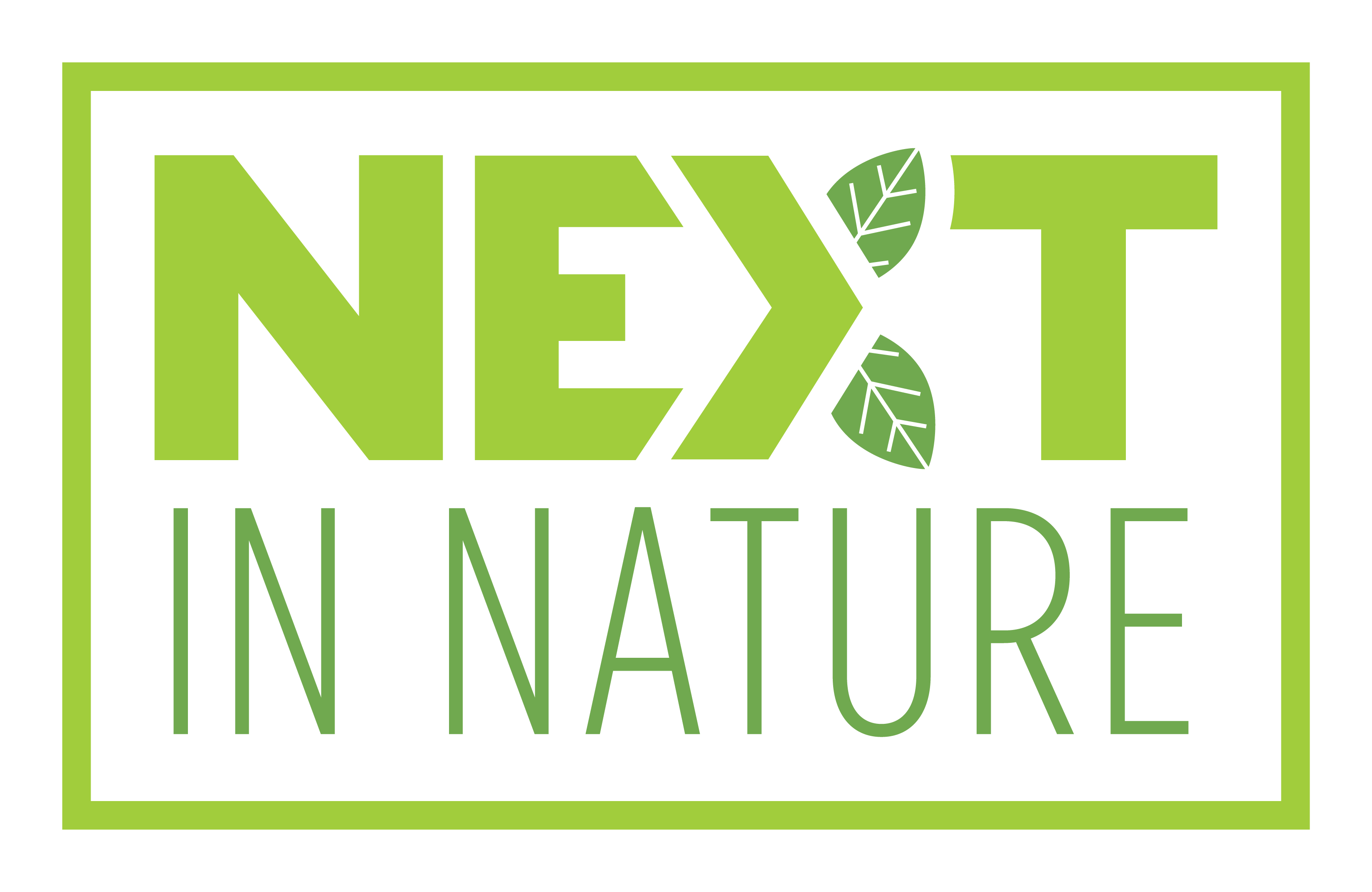 Next in Nature Green Logo with Leaves