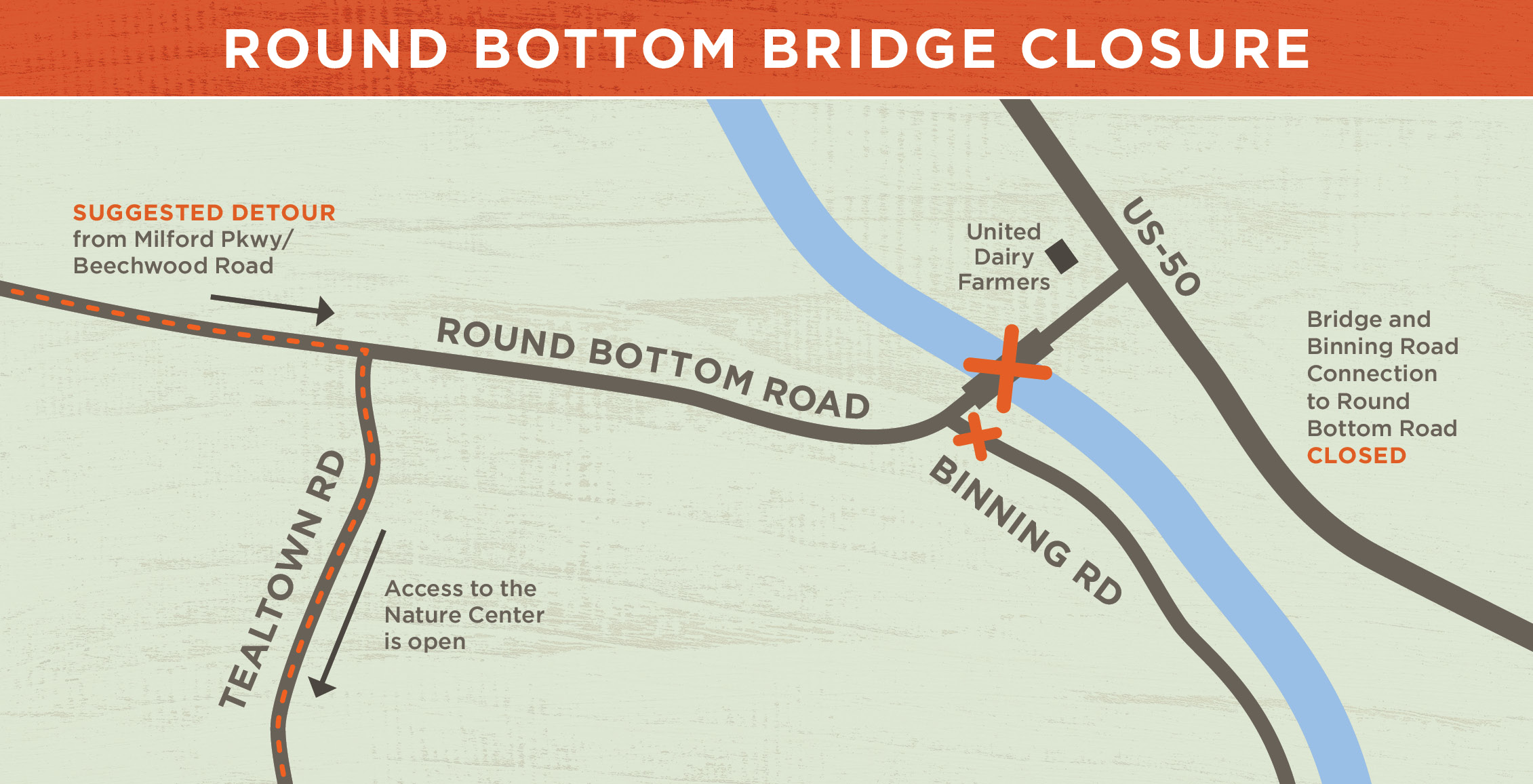 Image of a map of the Round Bottom Bridge closure