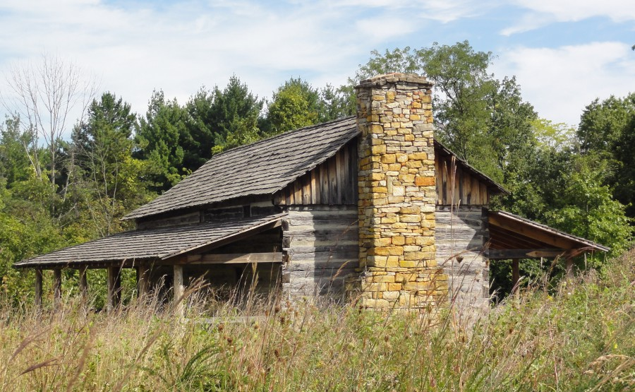 Exterior view of Abner Hollow Pioneer Cabin